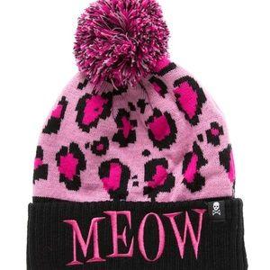 Pink Meow Leopard Print Pom Pom Beanie